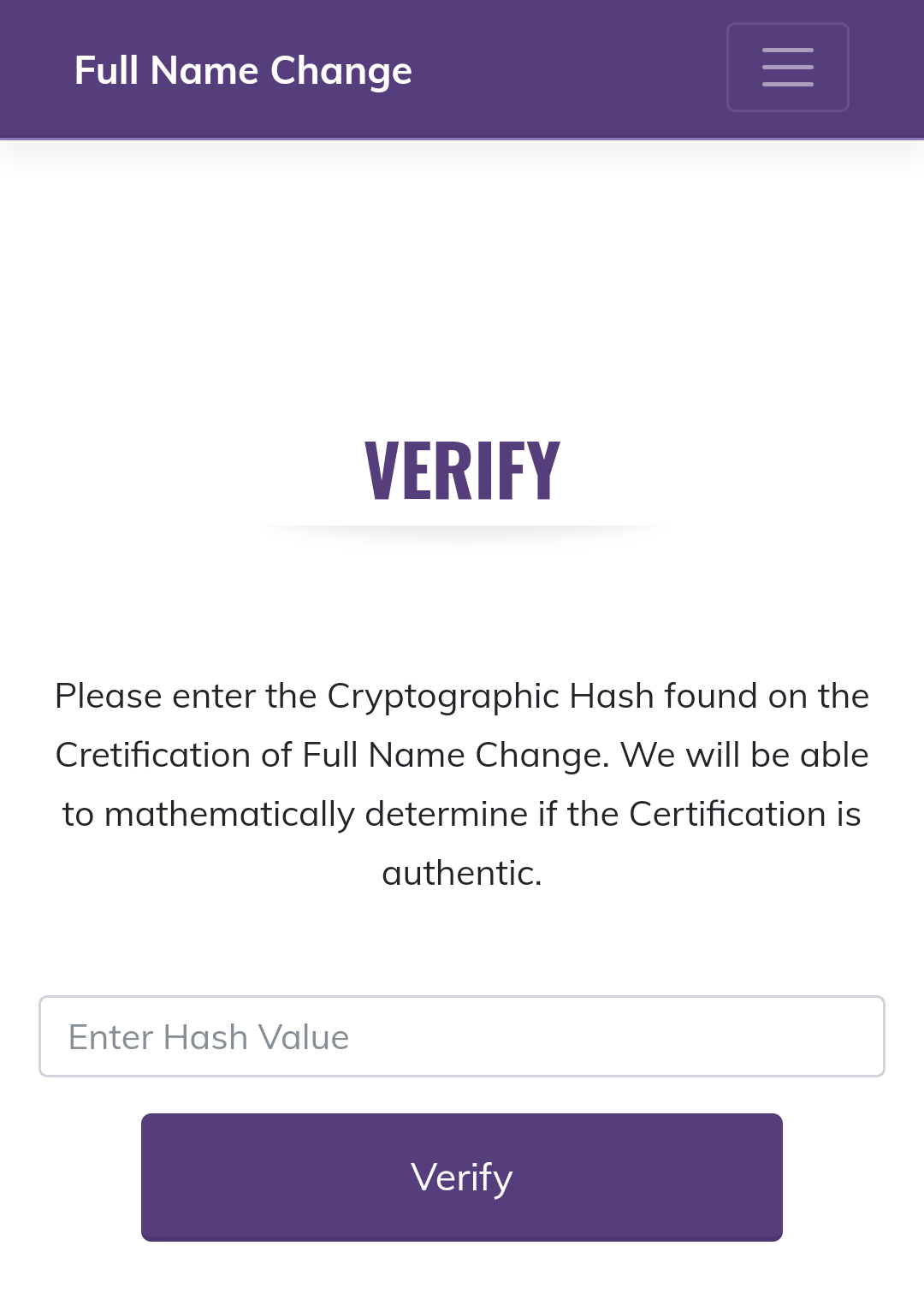 Verify Page on Mobile